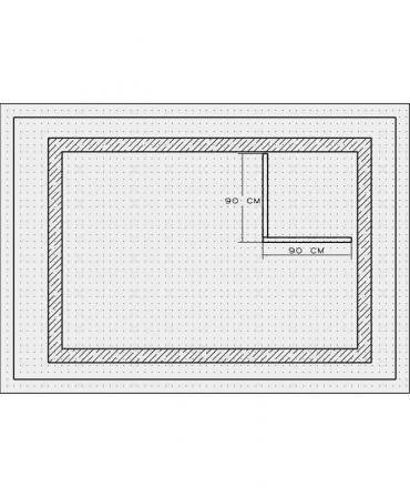Bordura pentru cabina de dus, MBD1,90x90x4 CM , marmura