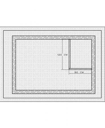 Bordura pentru cabina de dus, MBD1, 120x90x4 CM , marmura