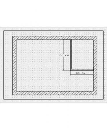 Bordura pentru cabina de dus, MBD1, 100x90x4 CM , marmura