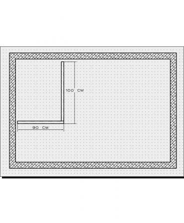 Bordura pentru cabina de dus, MBD2, 100x90x4 CM