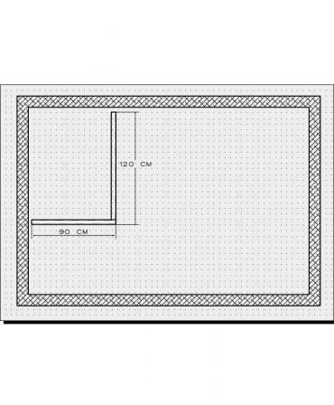 Bordura pentru cabina de dus, MBD2, 120x90x4 CM